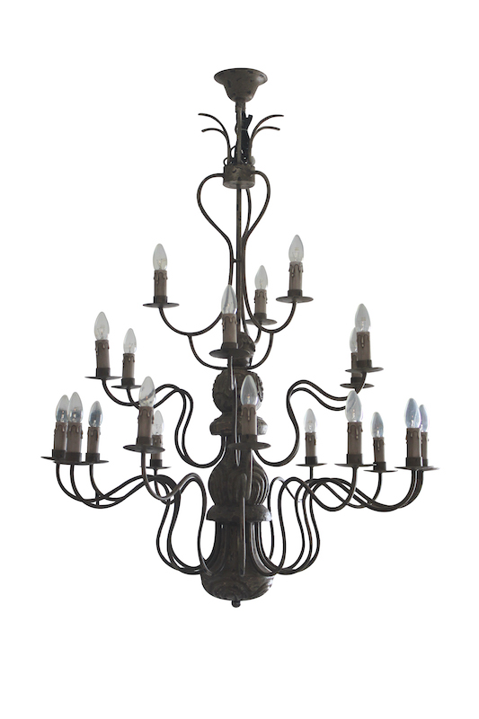 21 LIGHT WROUGHT IRON A WOOD CHANDELIER