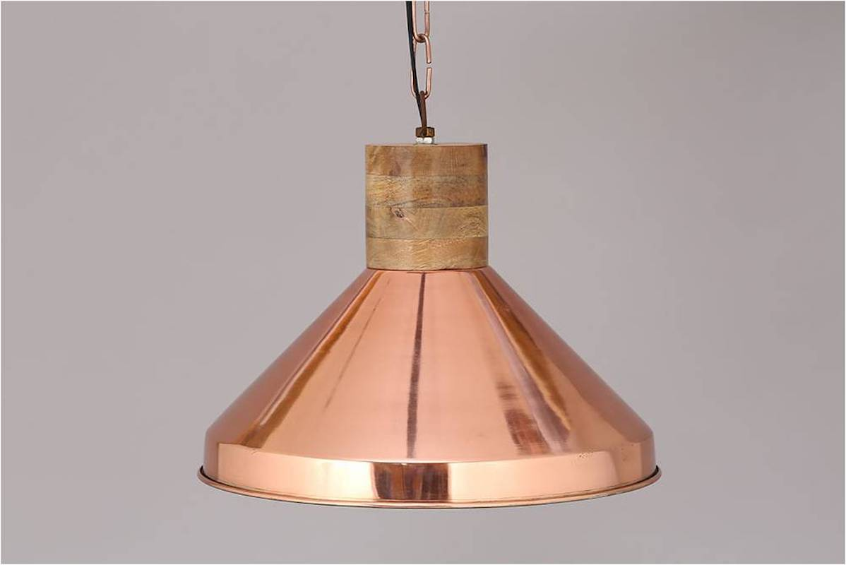 SUSPENDED LAMP IN NATURAL COPPER, IRON A WOOD 2