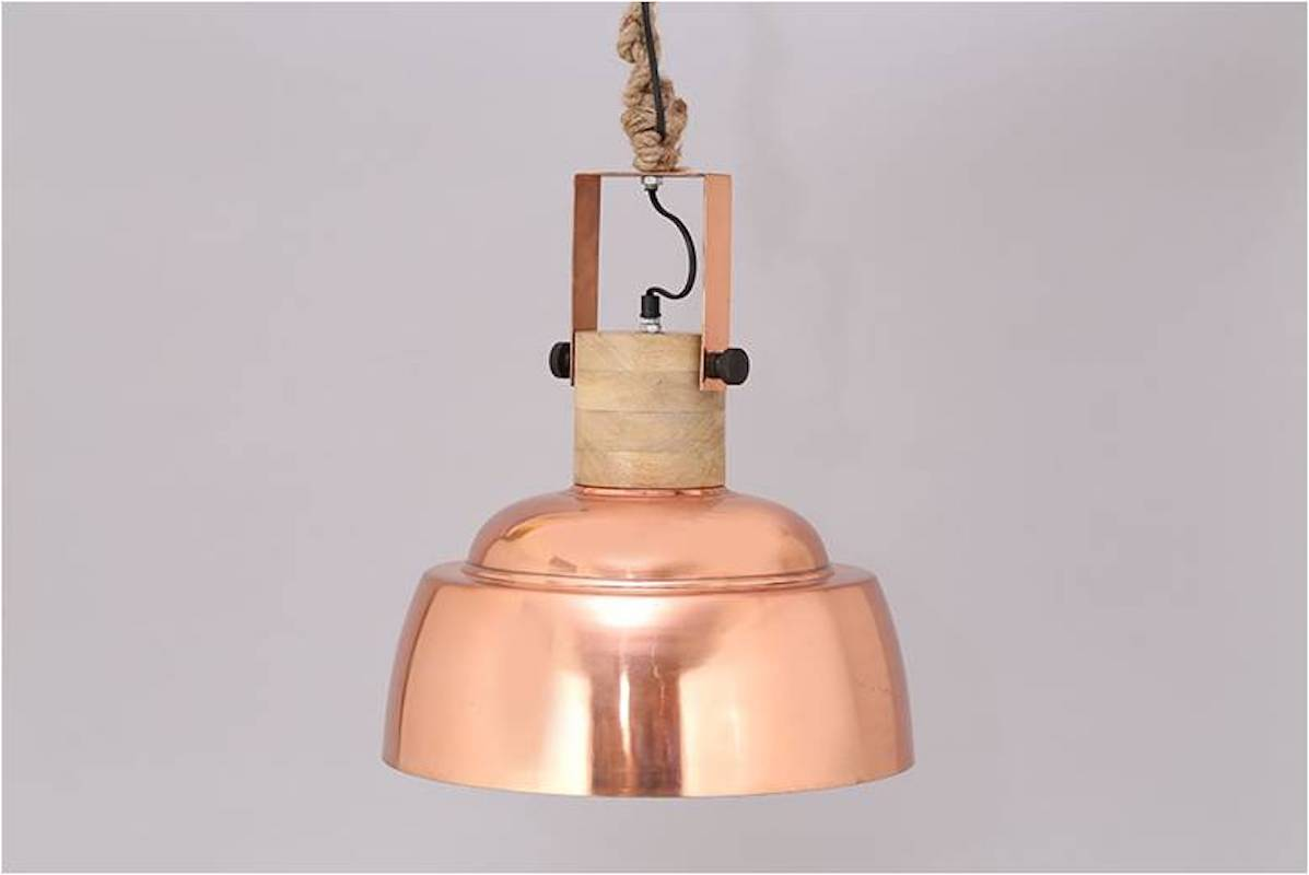 SUSPENDED LAMP IN NATURAL COPPER, IRON AND WOOD 1